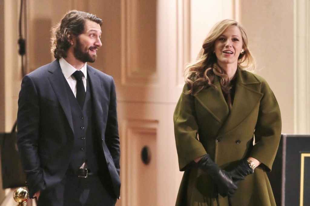"51360434 Actress Blake Lively films a late night scene with co-star Michiel Huisman on the set of ""Age of Adaline"" on March 19, 2014 in Vancouver, Canada. FameFlynet, Inc - Beverly Hills, CA, USA - +1 (818) 307-4813"