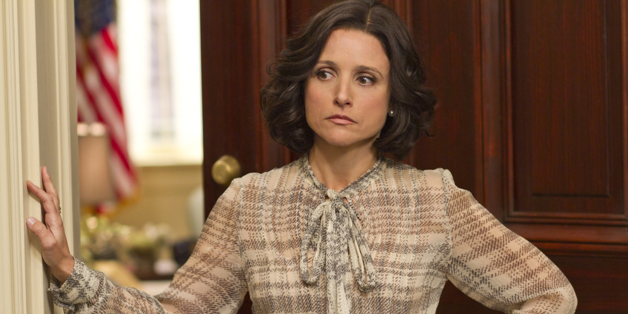 "This undated image released by HBO shows Julia Louis-Dreyfus portraying Vice President Selina Meyer in a scene from ""Veep."" Louis-Dreyfus was nominated for a Golden Globe for best actress in a comedy series, Thursday, Dec. 13, 2012, for her role in the series.  The 70th annual Golden Globe Awards will be held on Jan. 13.  (AP Photo/HBO, Bill Gray)"