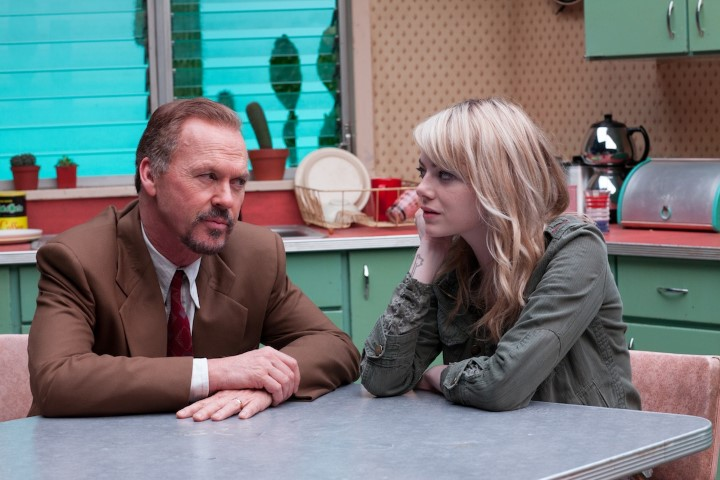 "Michael Keaton as ""Riggan"" and Emma Stone as ""Sam"" in BIRDMAN. Photo by Alison Rosa. Copyright © 2014 Twentieth Century Fox."