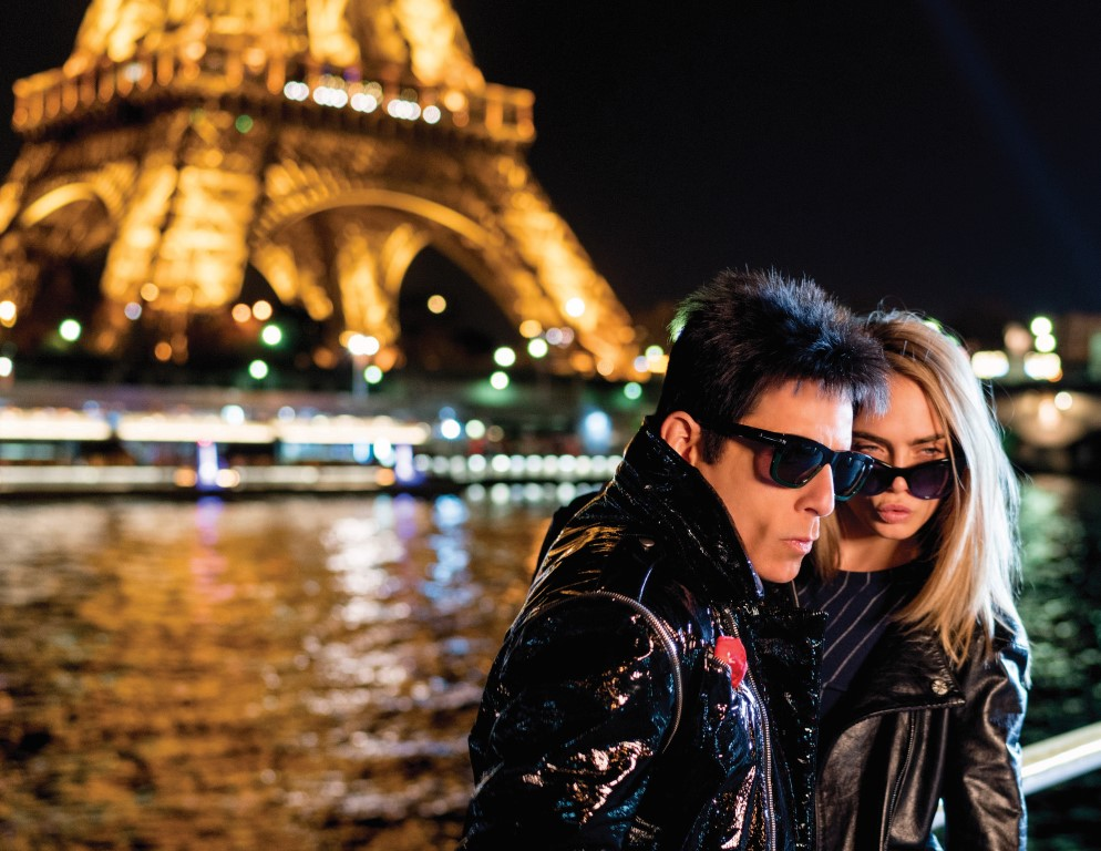 Derek Zoolander and friend Cara Delevingne visit the Eiffel Tower in Paris to promote Zoolander No. 2 opening in theaters February 12th.