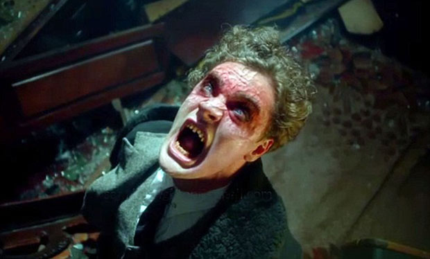 Shows: Jekyllís brutal transformation into Hyde, he destroys hotel room and then accosts hotel staff Tom Bateman as Robert Jekyll, grandson of Stevenson's Dr Jekyll, in the TV series 'Jekyll and Hyde' by Charlie Higson ITV