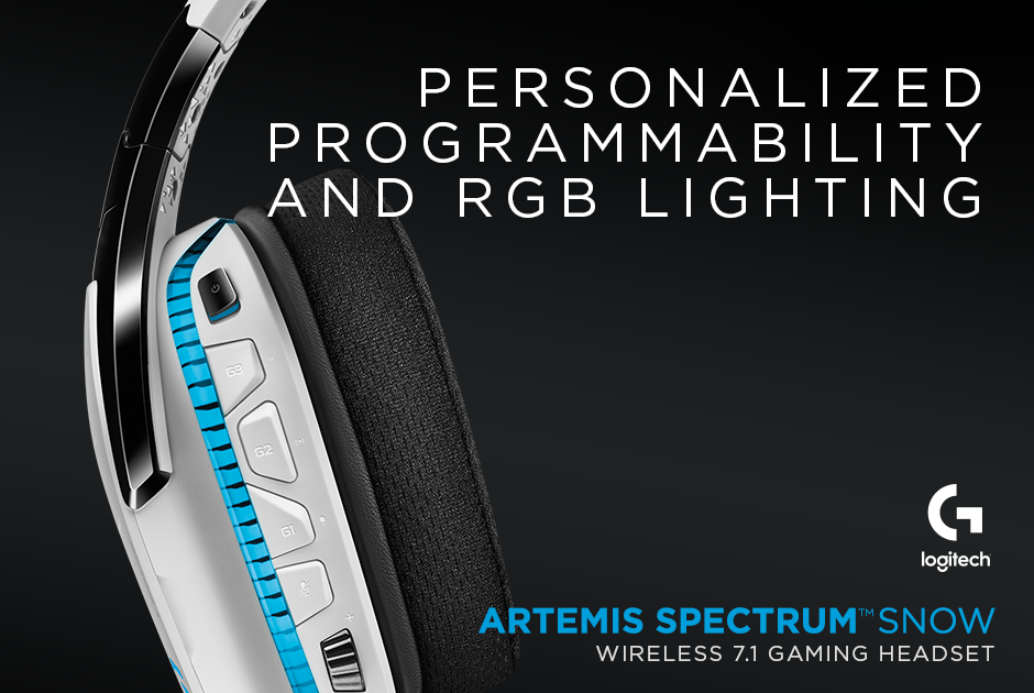 Logitech® G933 Artemis Spectrum™ Snow Wireless 7 1 Gaming