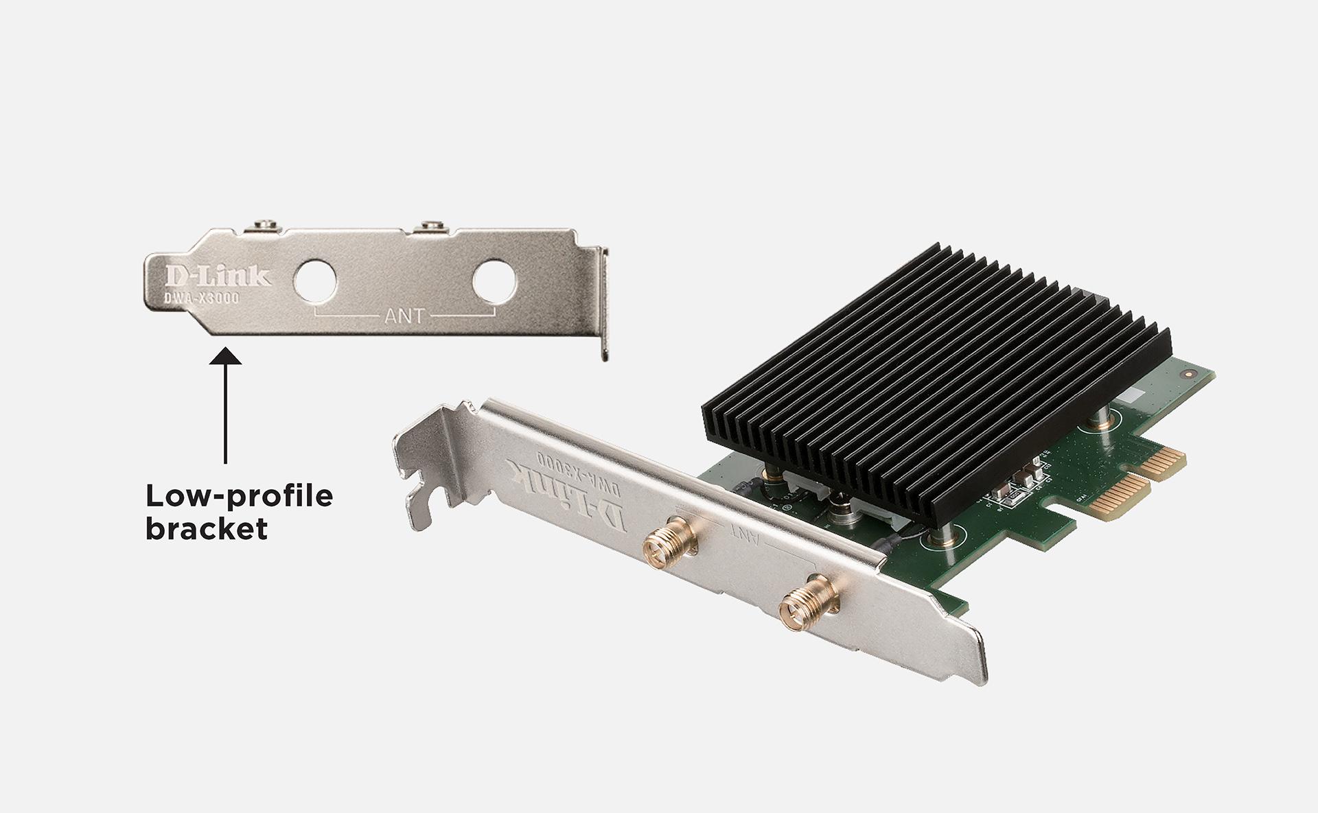 D-Link AX3000 Wi-Fi 6 PCIE - Brackets, heatsink