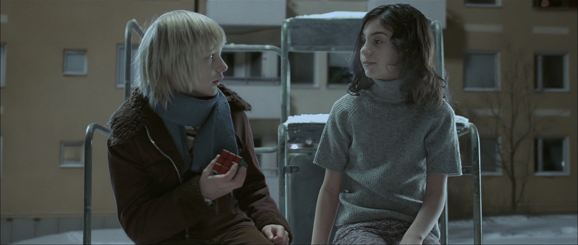 let the right one in A fragile, anxious boy, 12-year-old oskar is regularly bullied by his stronger classmates but never strikes back the lonely boy's wish for a friend seems to come true when he meets eli, also 12, who moves in next door to him with her father a pale, serious young girl, she only comes out at night and doesn't seem affected by the freezing.